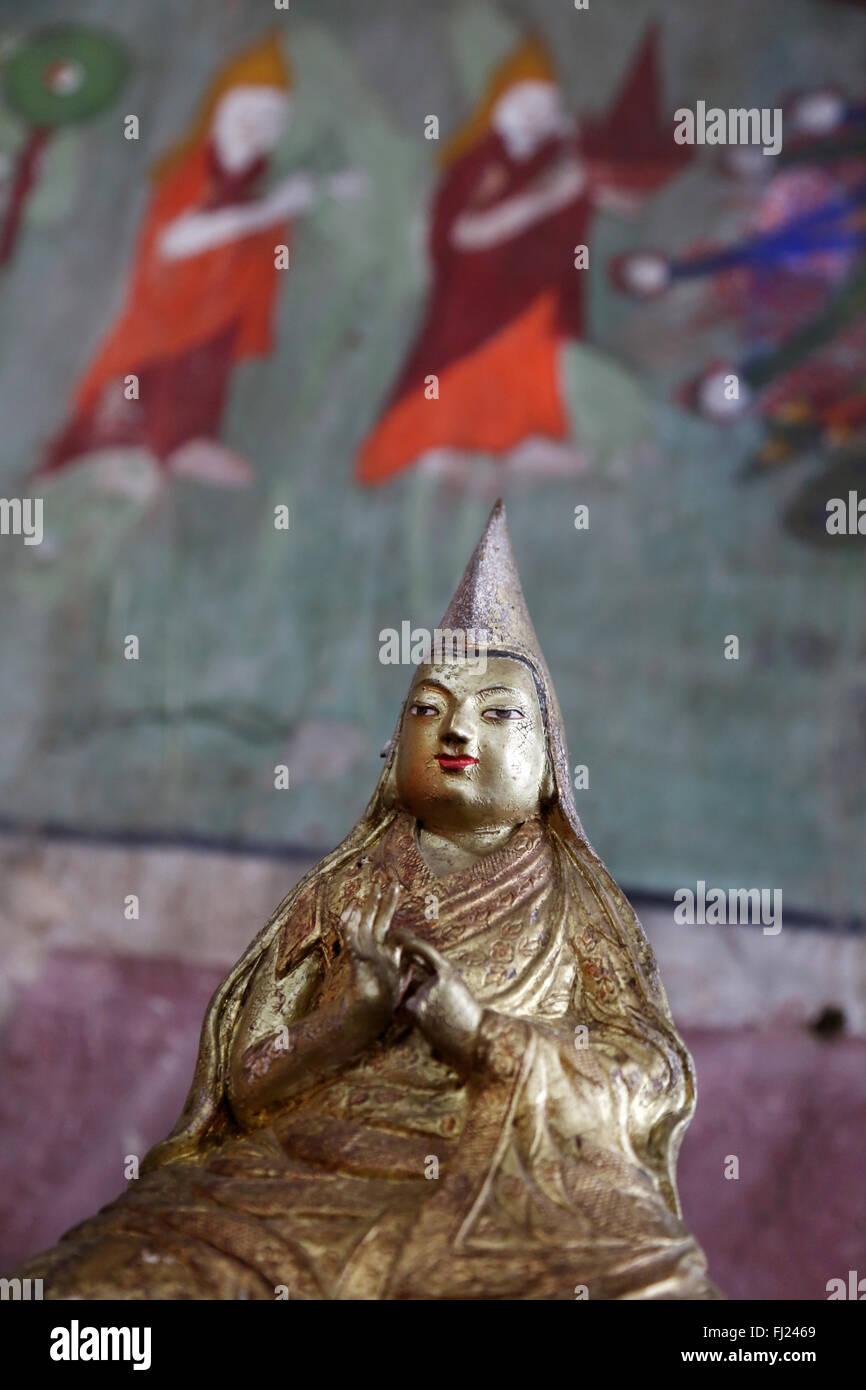 Buddha statue inside the Inside the Erdene Zuu monastery , Mongolia - Stock Image