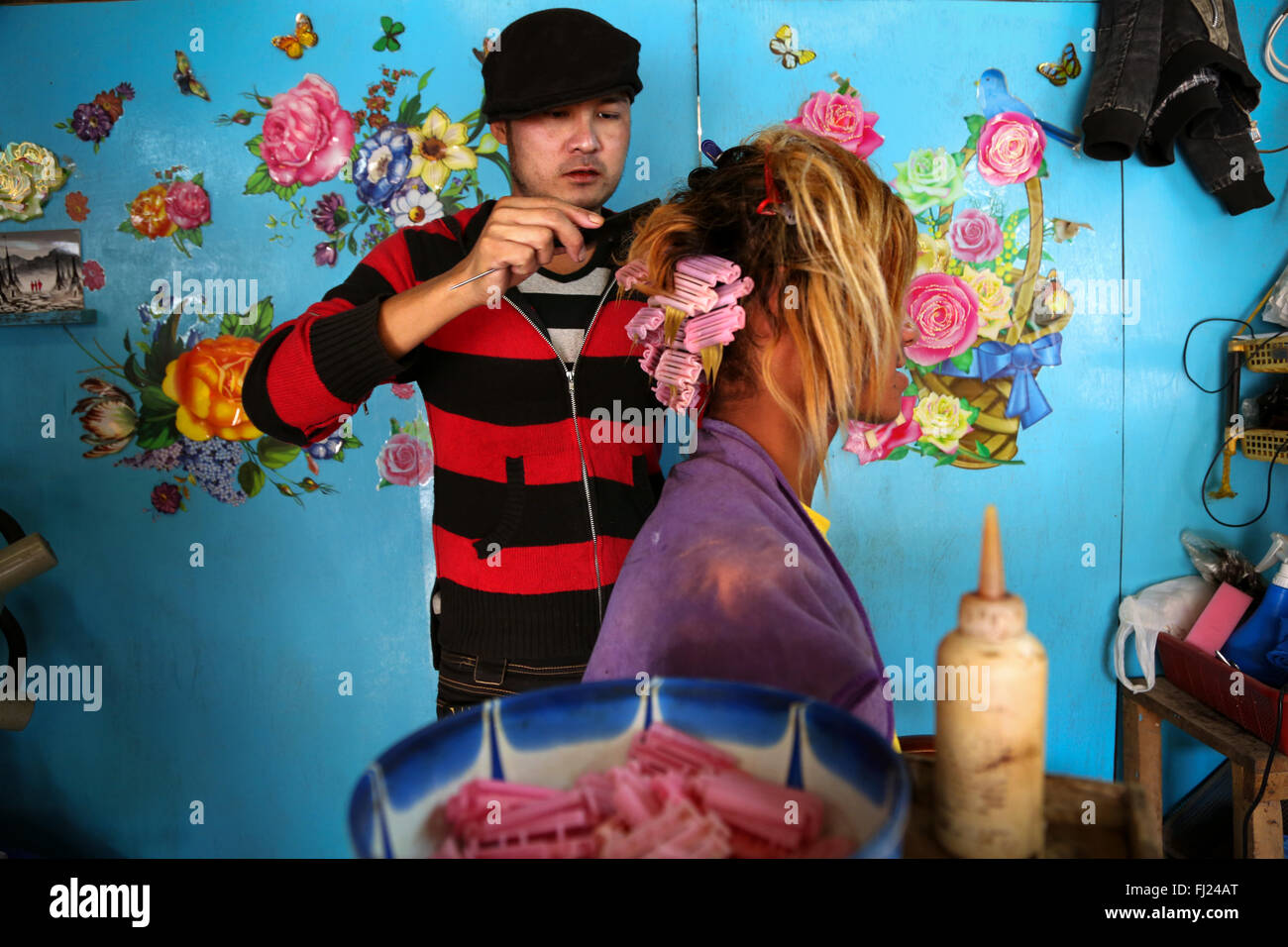 Colorful and nicely decorated hairdresser salon in Rangoon Myanmar - Stock Image