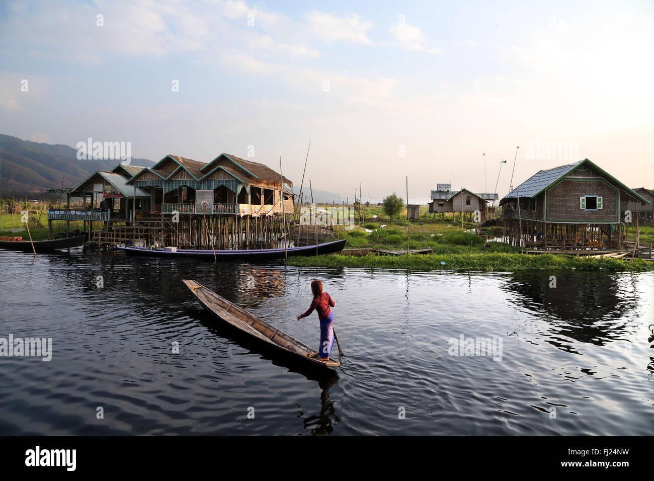 Landscape of Stilt house on Inle lake, Myanmar - Stock Image
