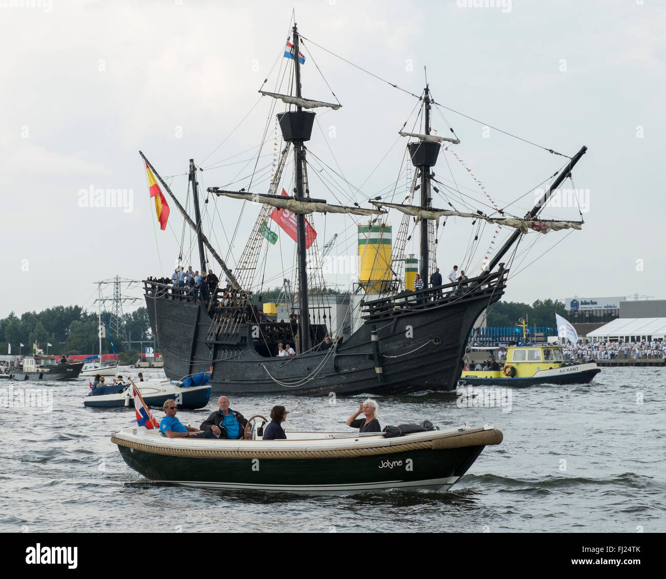 Nao Victoria was a Spanish carrack and the first ship to circumnavigate the world. This one is a replica built in Stock Photo