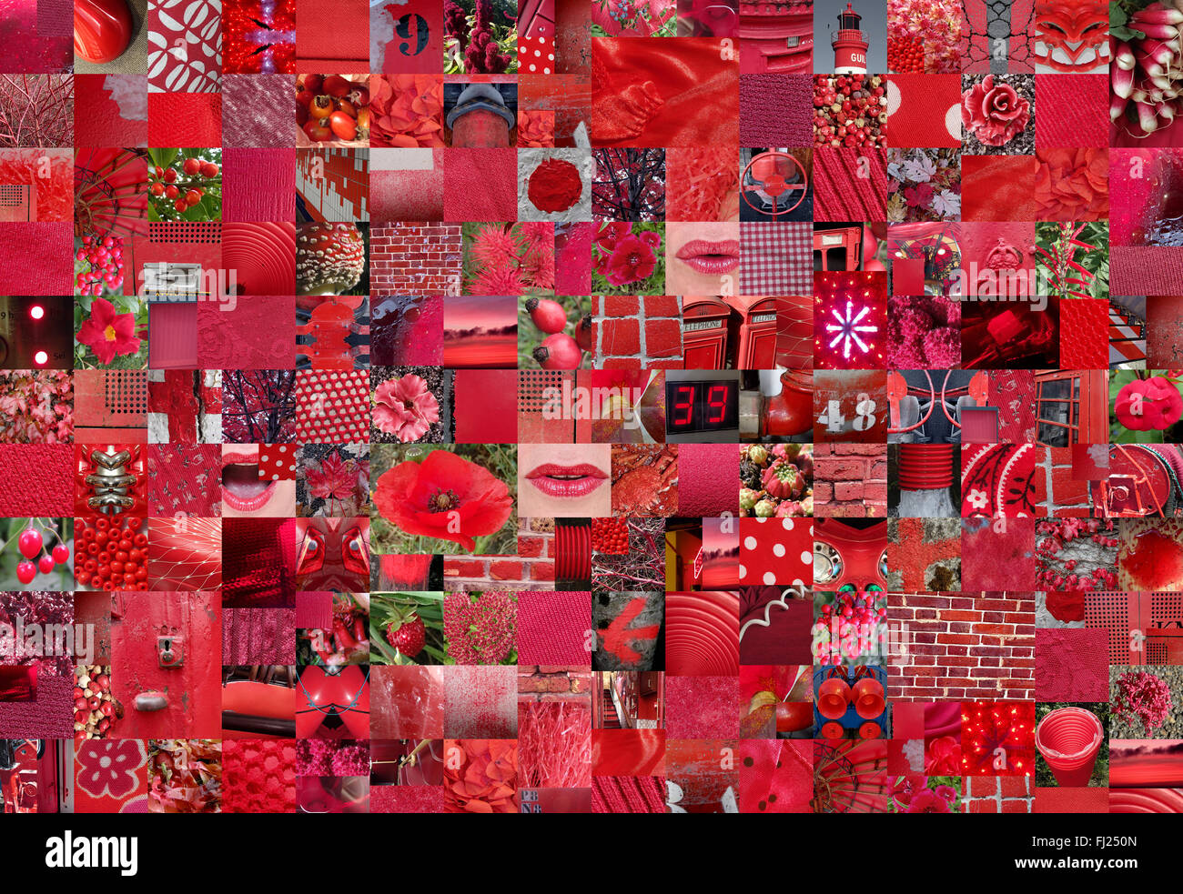 patchwork collage made of plenty different photographies - color theme - Stock Image