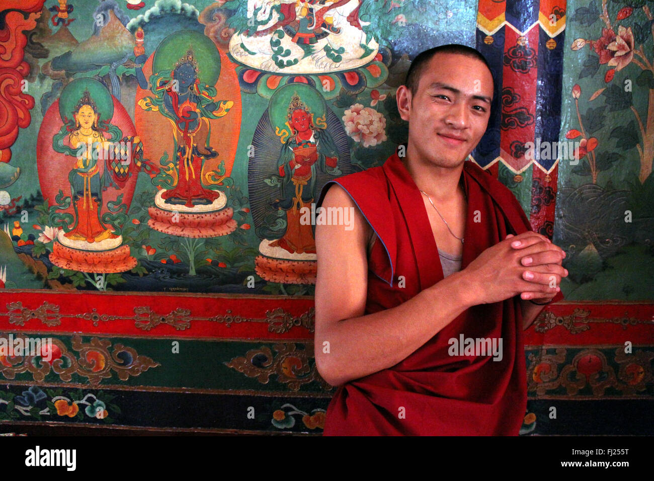 Portrait of Nepali monk at Sakya Tharig gompa in Boudhanath - Stock Image