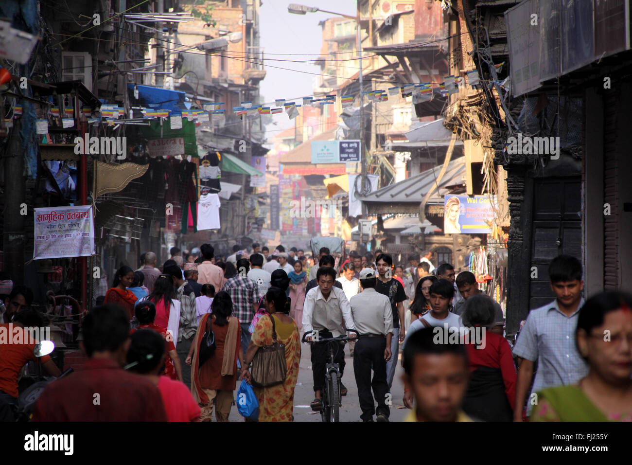 Streetlife scene in Katmandu, nepal, in the center of the capital and around Durbar square - Stock Image