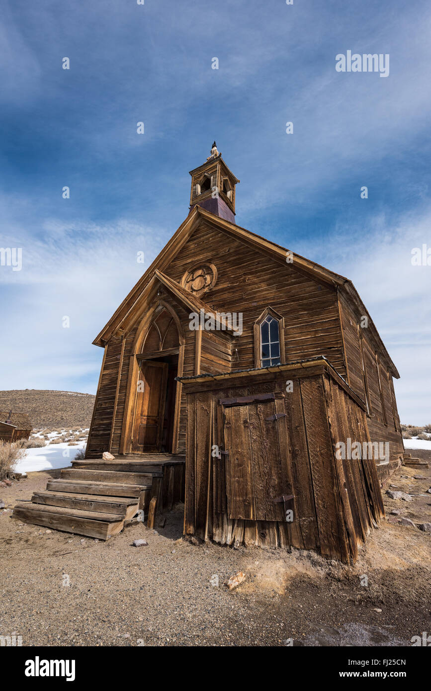 Church at the historical Bodie ghost town. - Stock Image