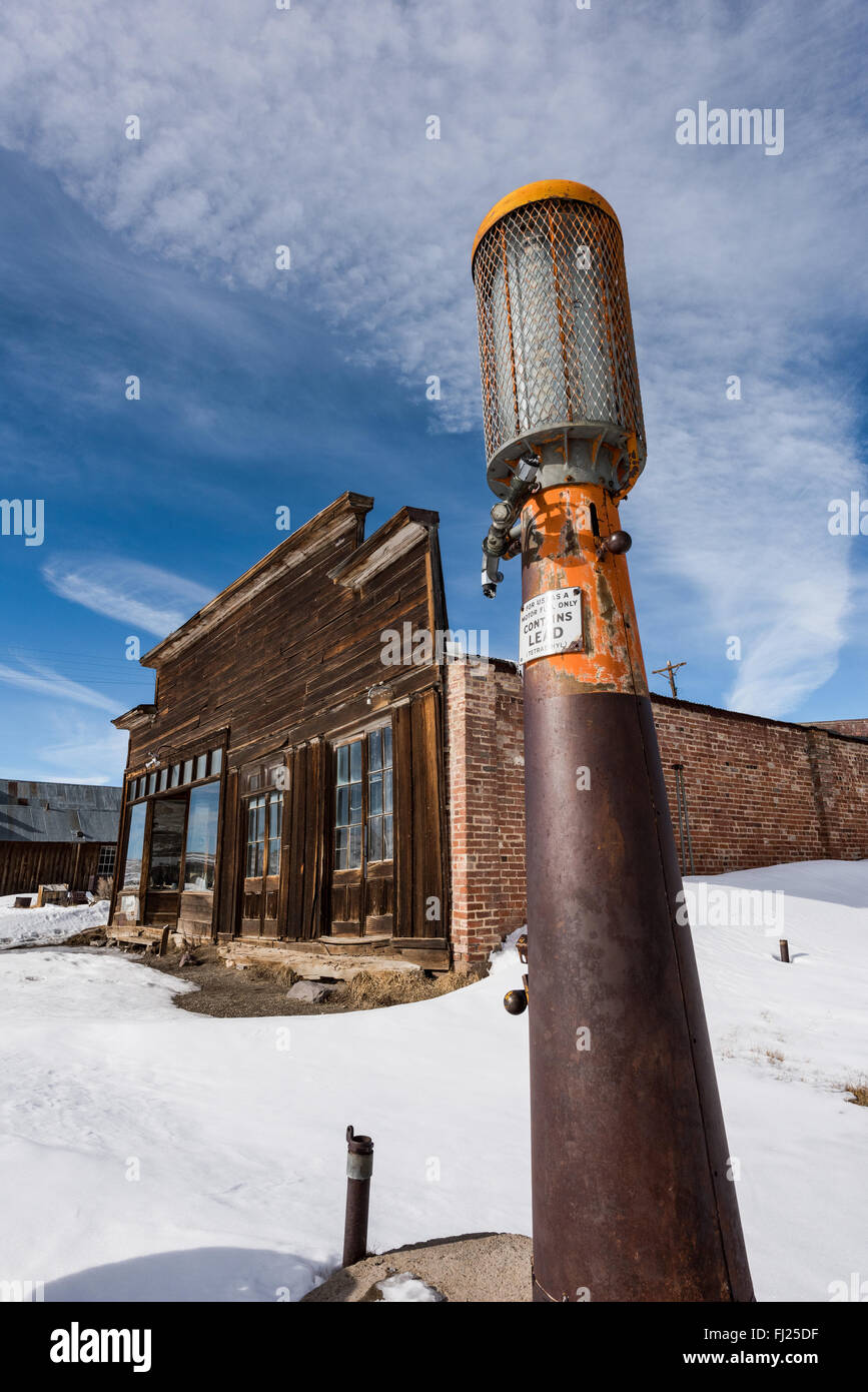 Antique gas pump in front of old gas station at Bodie ghost town. - Stock Image