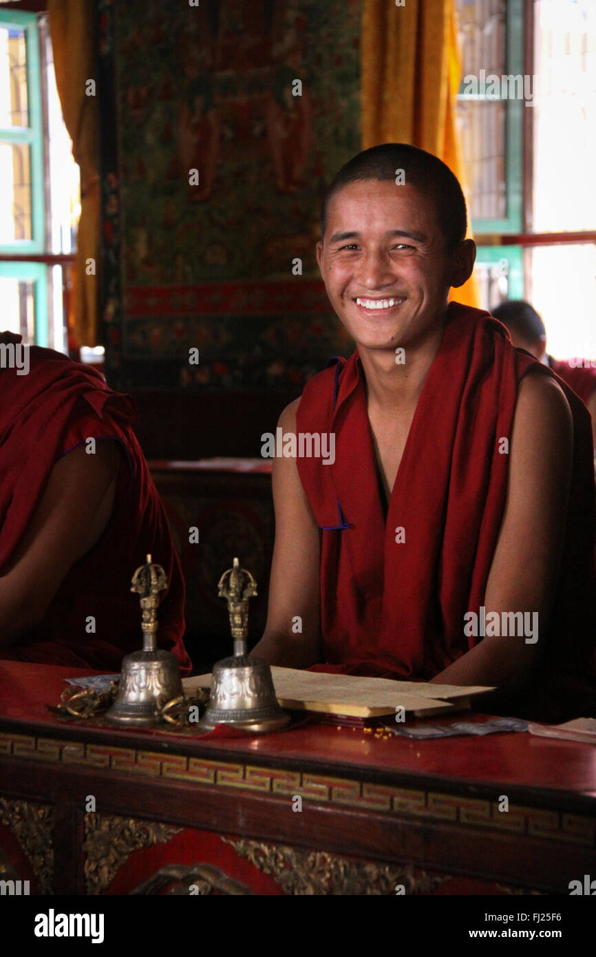 Portrait of Nepali buddhist monk in Sakya Tharig gompa monastery in Boudhanath - Stock Image