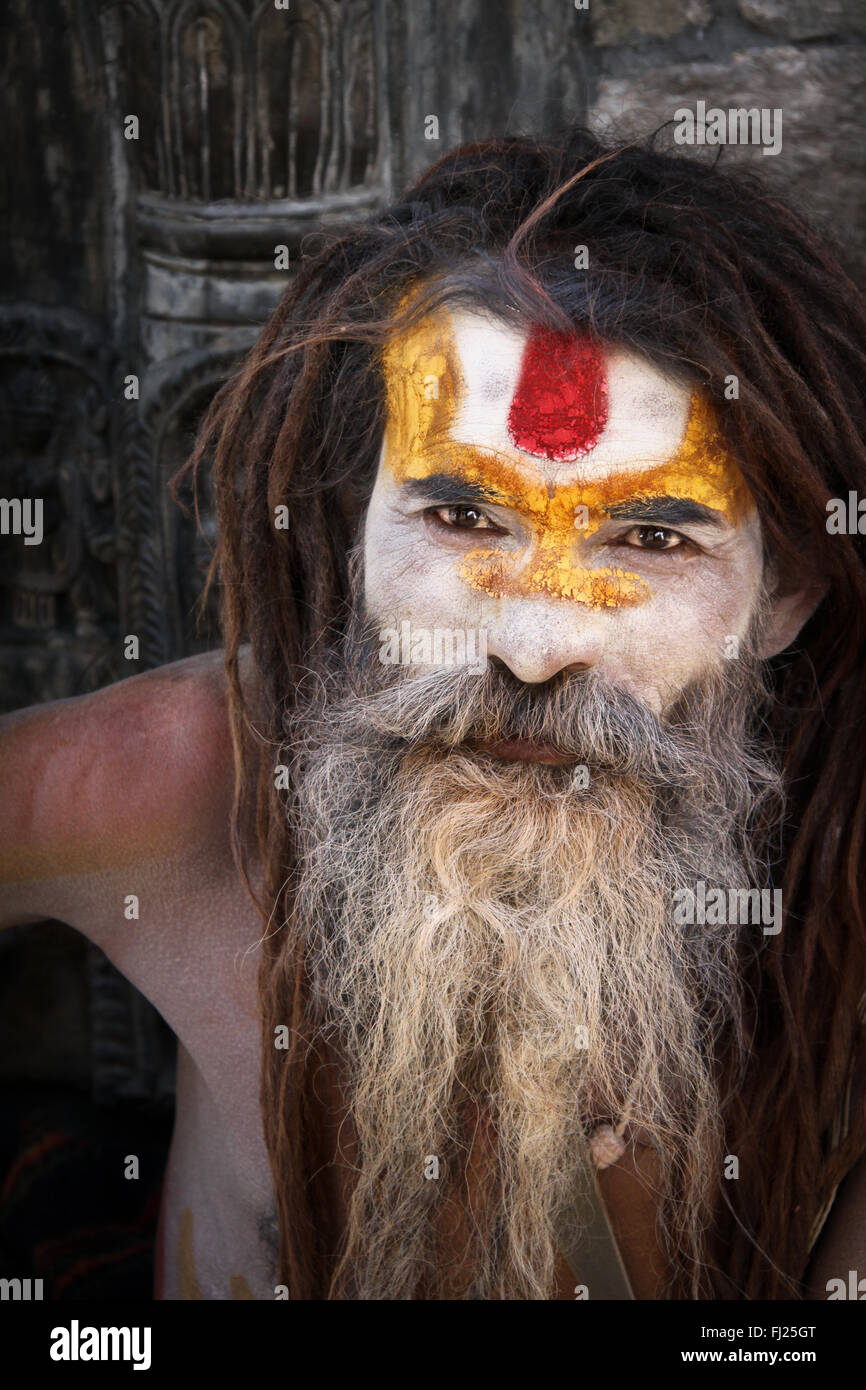 Nepalese sadhu in Pashupatinath, Nepal Stock Photo