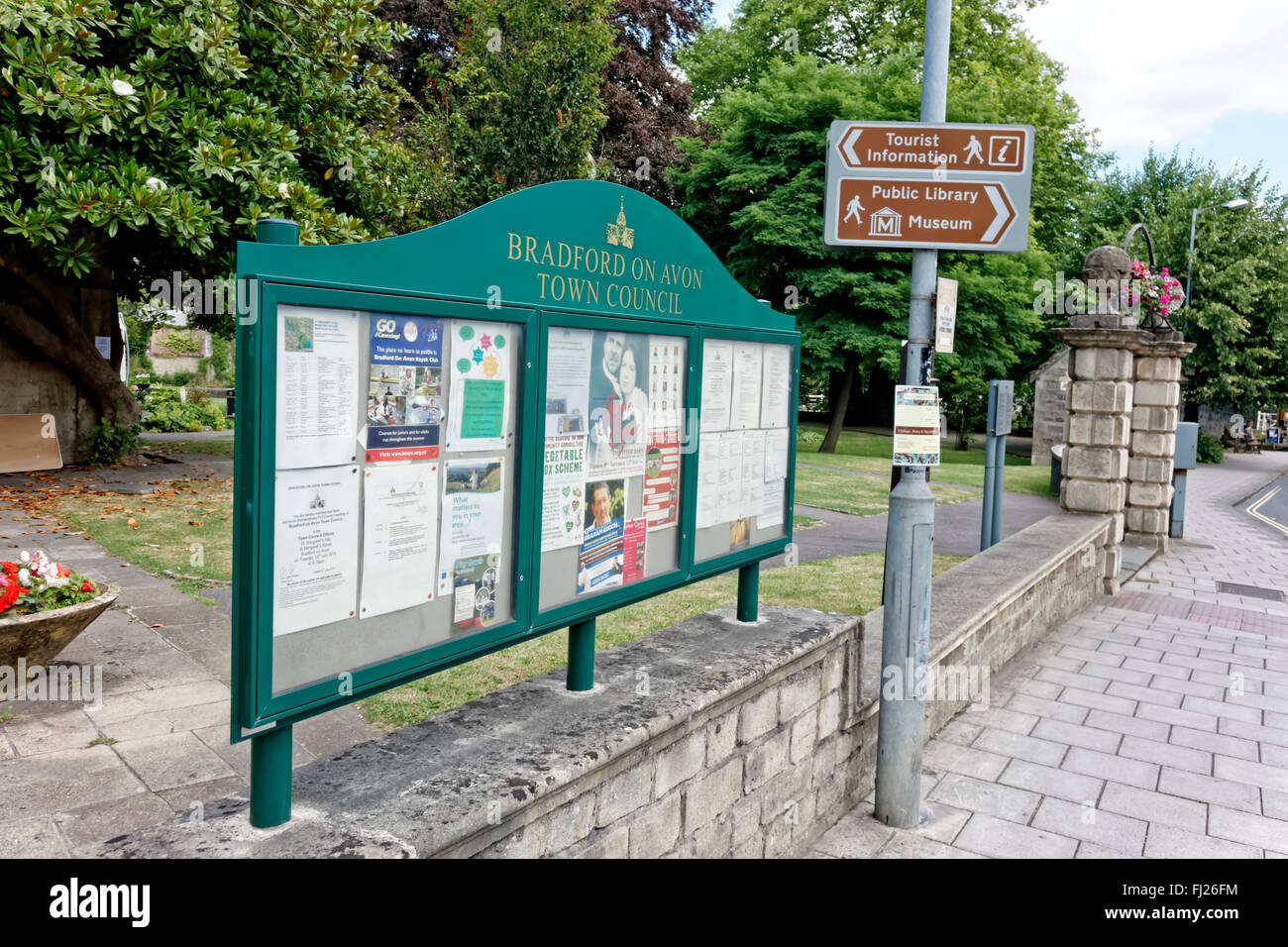 Bradford on Avon Town Council Information board, Wiltshire, United Kingdom. - Stock Image