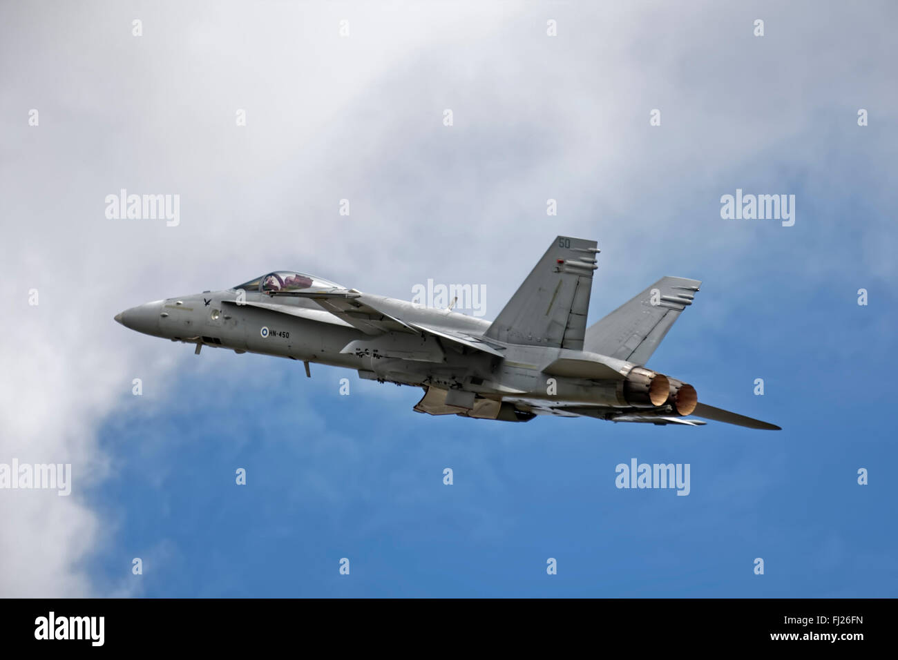 A Finnish Air Force Boeing F/A-18C Hornet at the 2009 Royal International Air Tattoo, RAF Fairford, Gloucestershire, - Stock Image