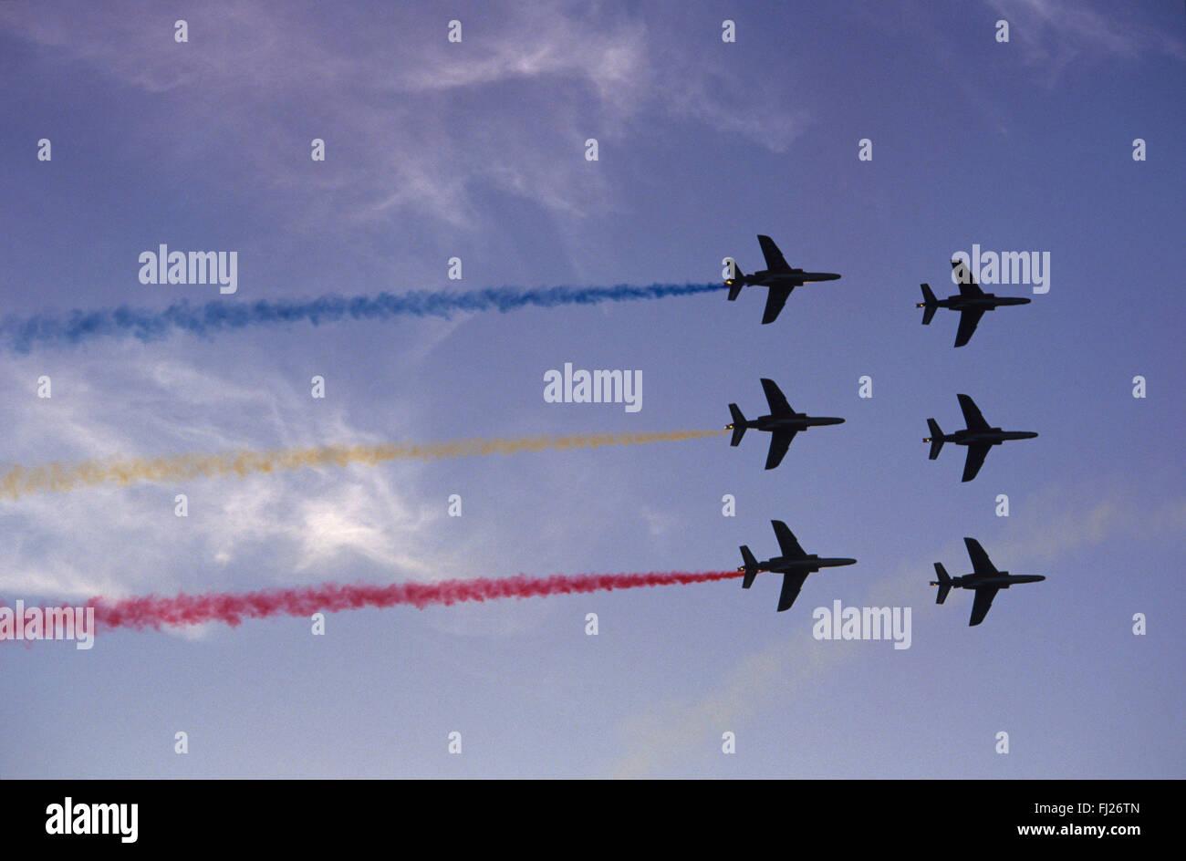 Meurthe et Moselle (54), base aerienne de Nancy-Ochey, La Patrouille de France, meeting aerien au coucher du soleil - Stock Image