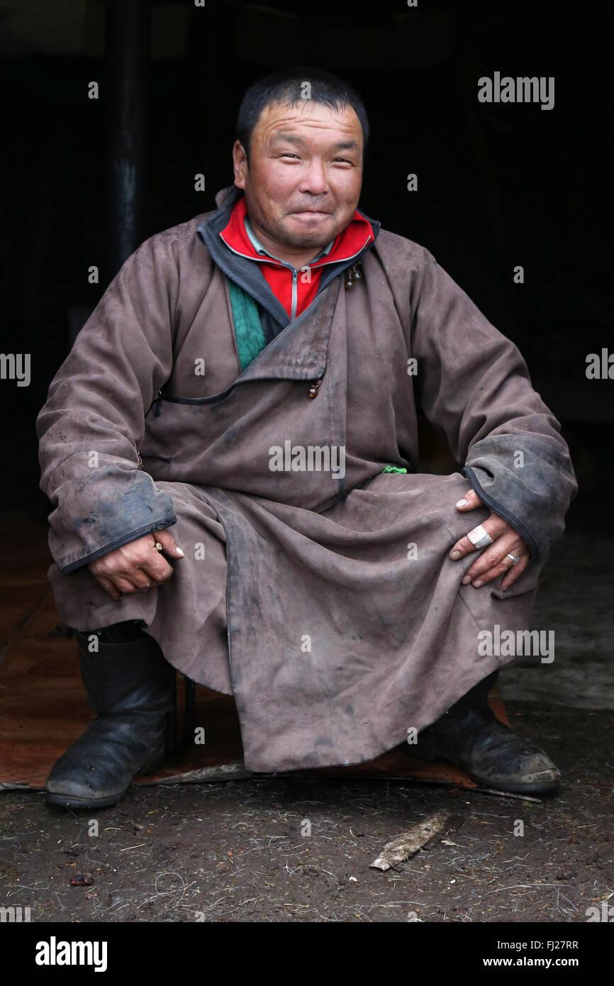 Man, , Tsaatan Dukha people , nomadic reindeer herders , Mongolia - Stock Image
