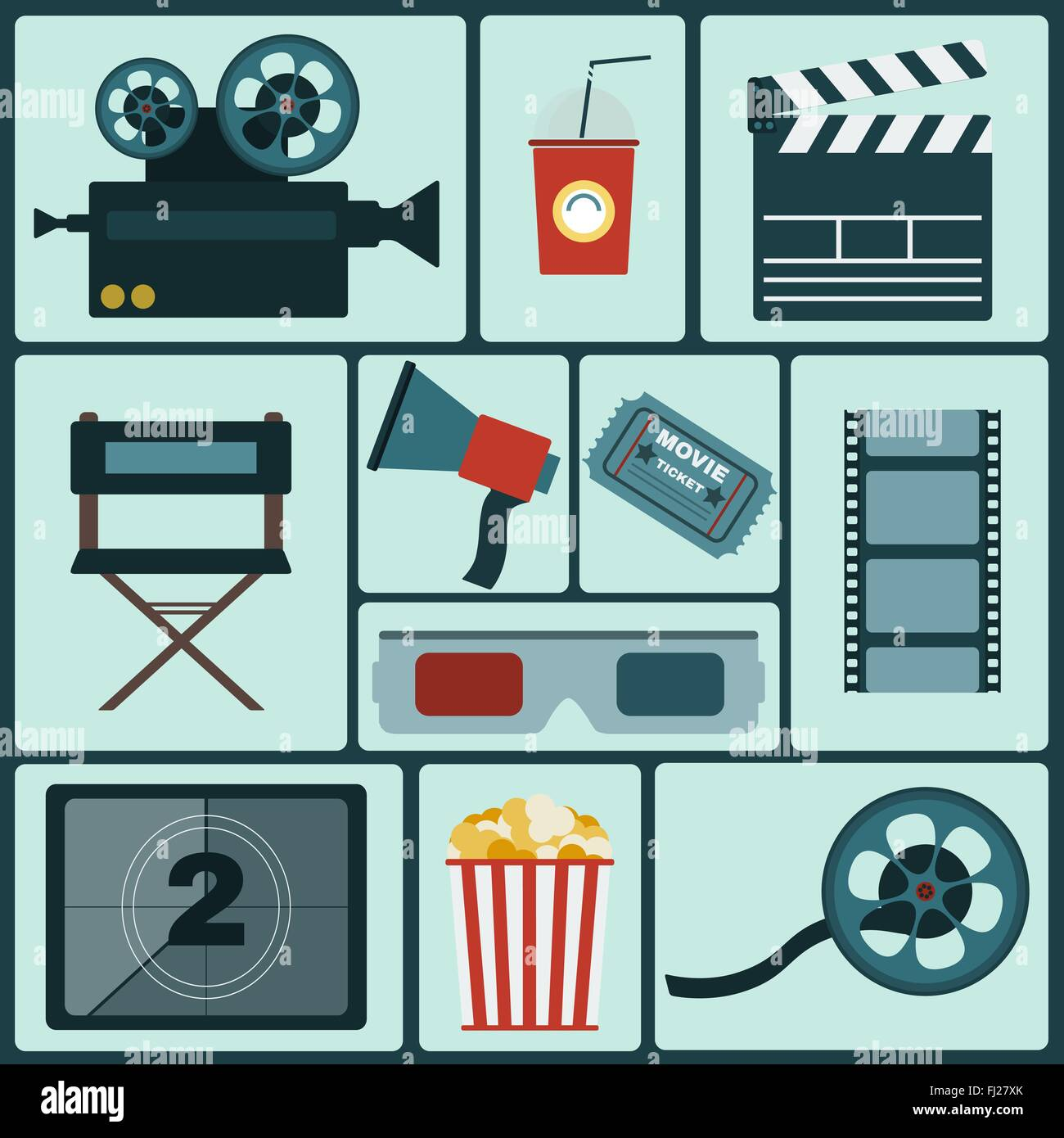 Cinema icon set  Making Movie  Camera, Movie Ticket, Clapper