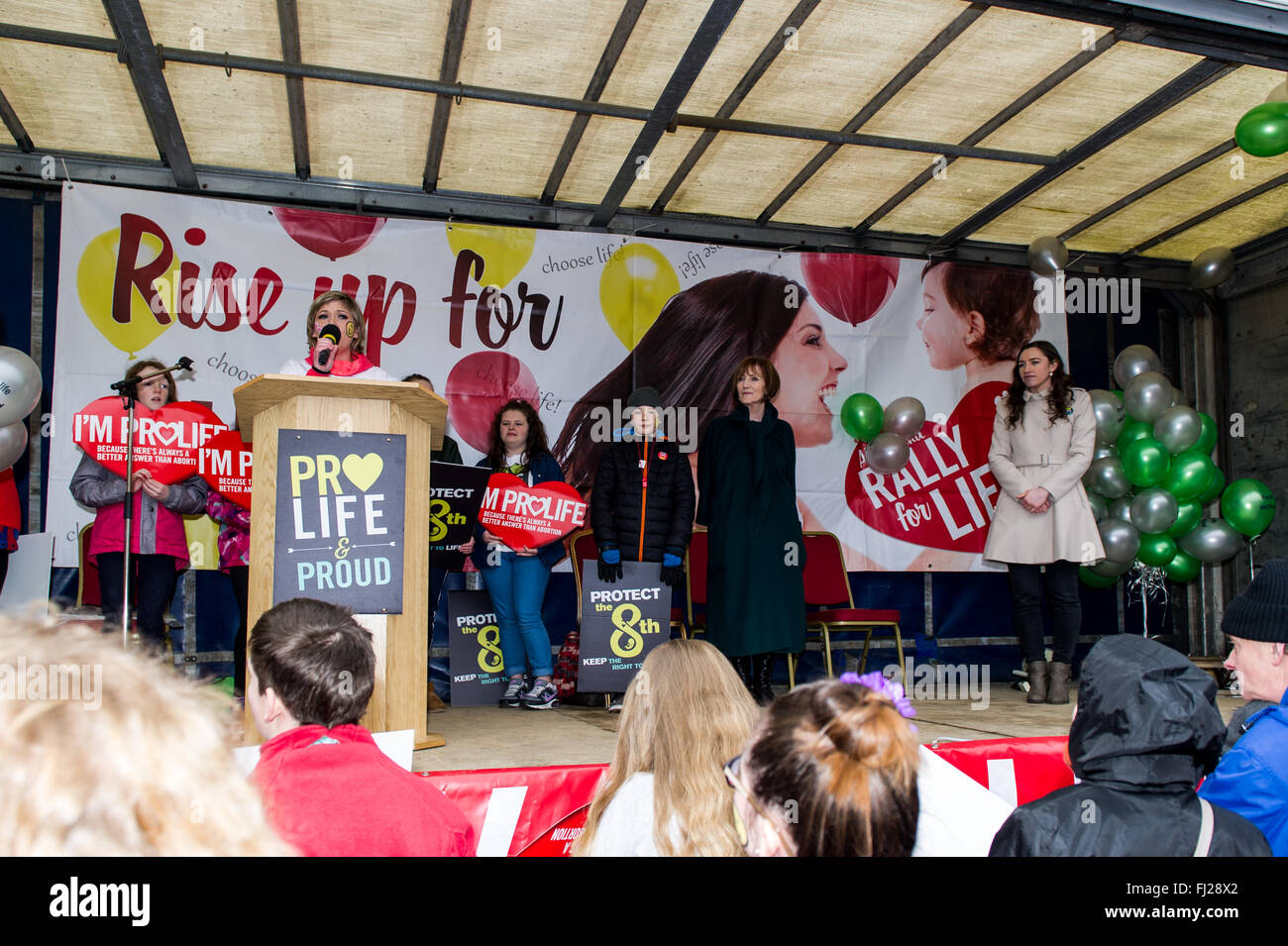Young woman speaks at a pro-life rally in Cork, Ireland - Stock Image