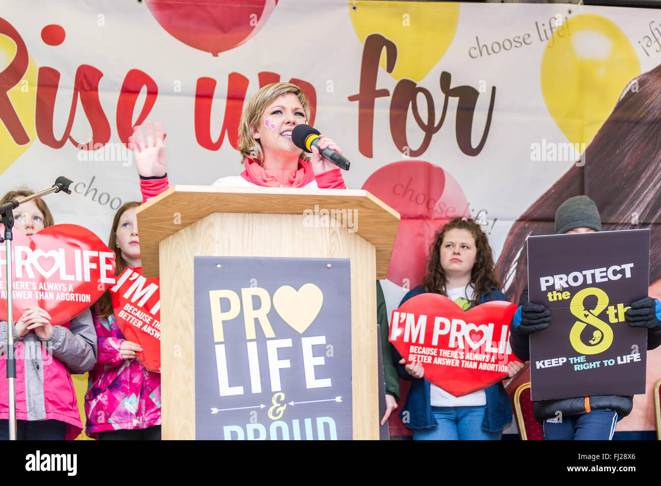 Young woman speaks at a pro-life anti abortion rally in Cork, Ireland - Stock Image