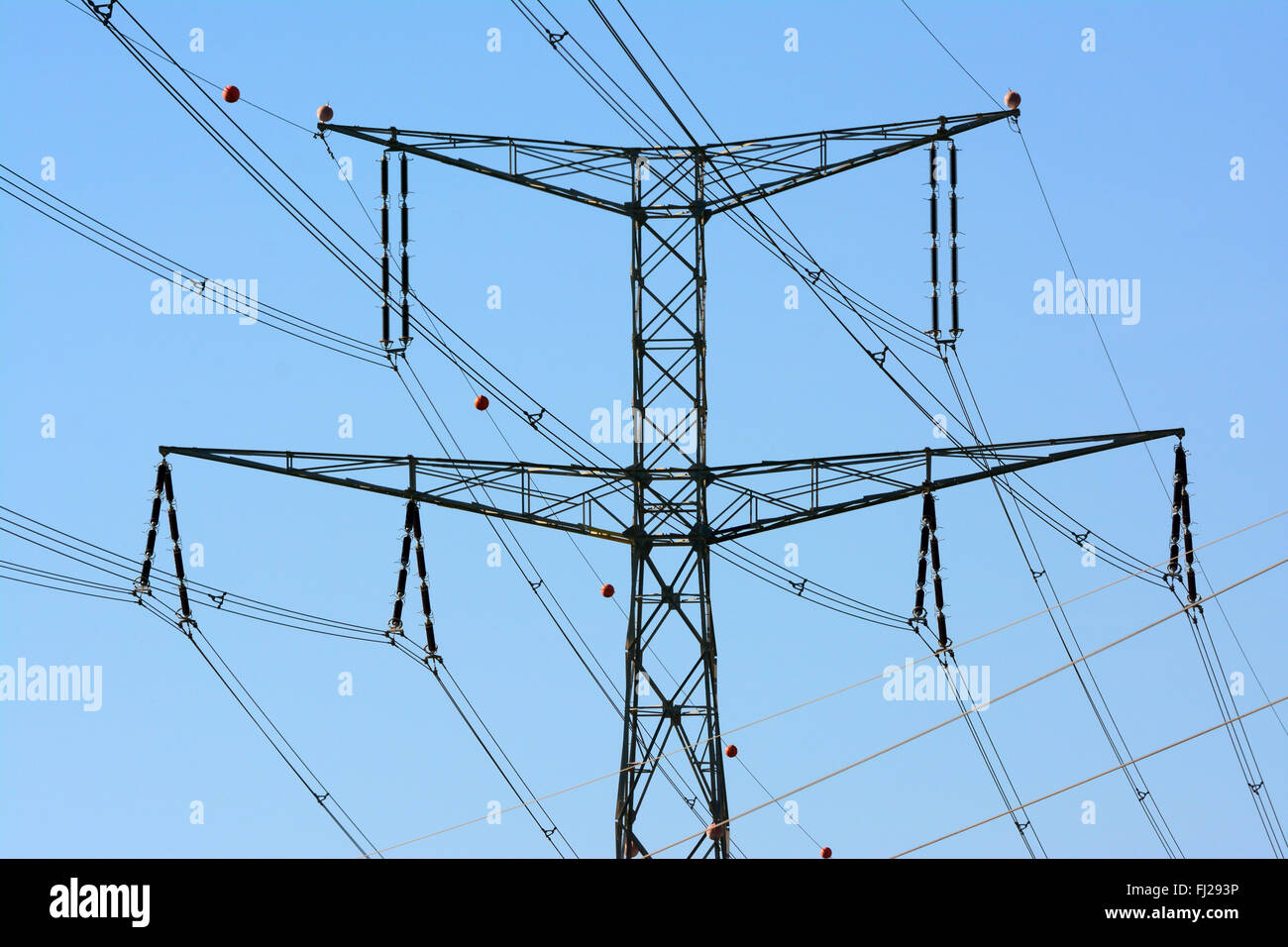 High voltage electricity pylon closeup - Stock Image