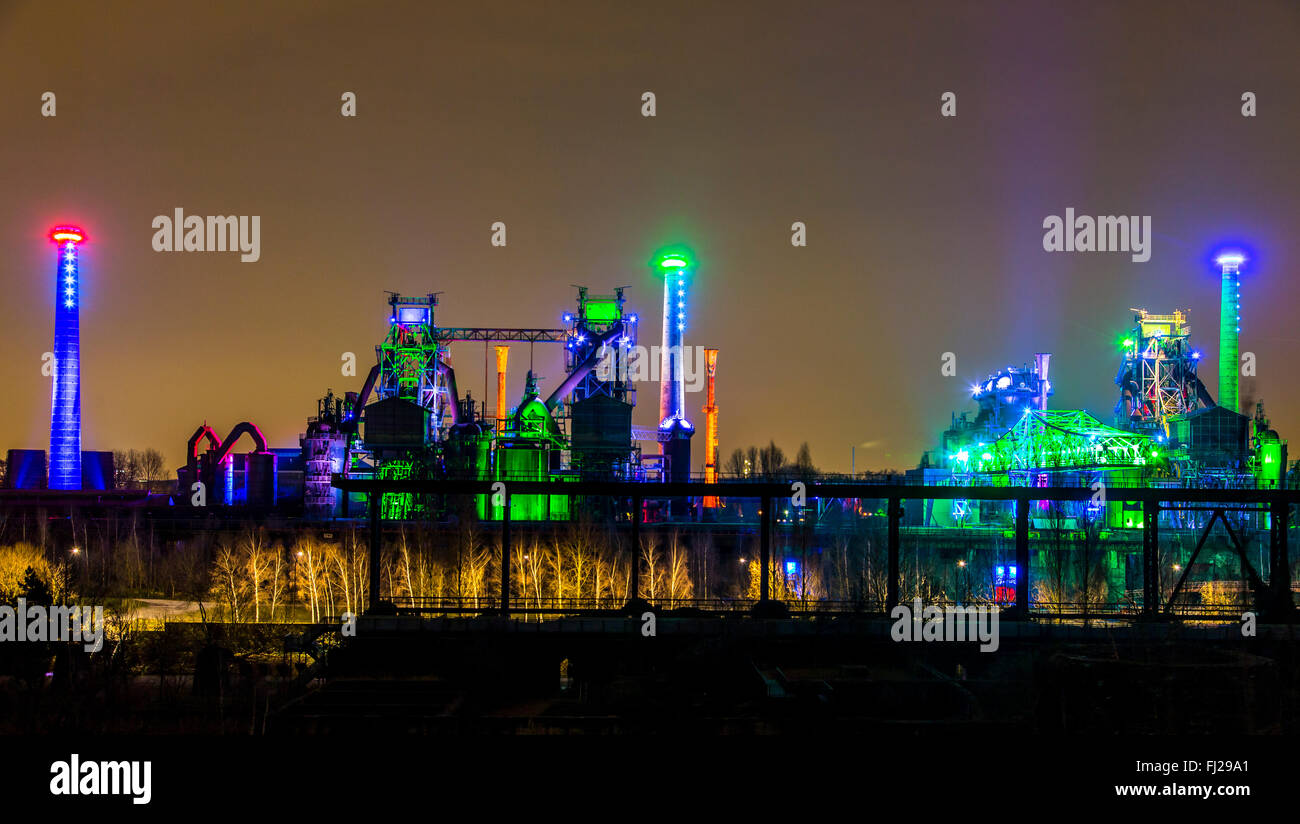 Landscape park Duisburg Nord, a former steel works, today an industrial heritage site, Duisburg, Germany, nightly - Stock Image