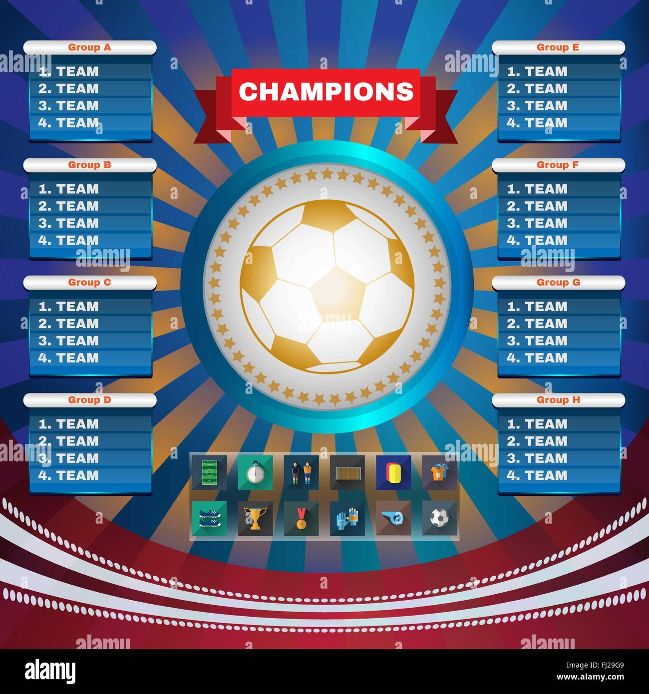 Football Champions  Flyer Soccer Groups and Teams Statistics Tables