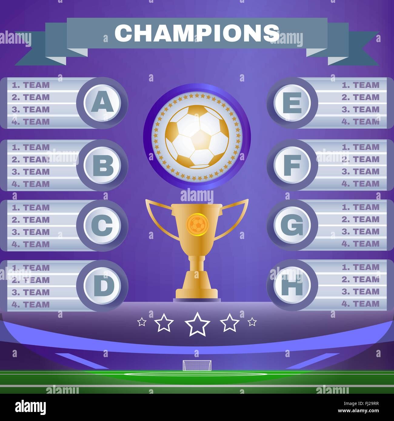soccer champions scoreboard template on purple backdrop sports