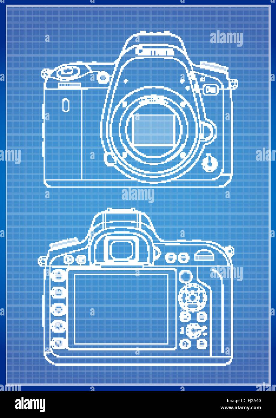DSLR Camera Outline - Stock Vector