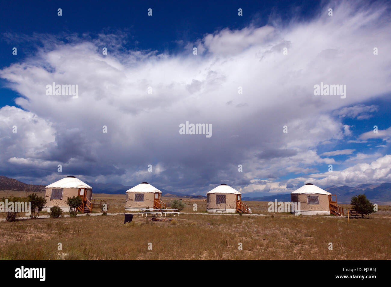YURTS are used as accomodations at JOYFUL JOURNEYS HOT SPRINGS - MOFFAT COLORADO - Stock Image
