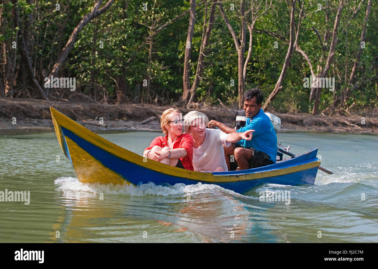 Eco-tourism offers guests a tour of the mangroves in the village of Ban Talae Nok on the North Andaman Sea - THAILAND - Stock Image