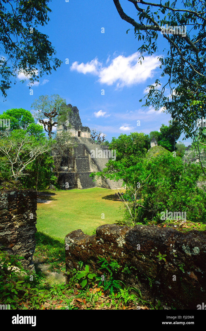 TEMPLE II, 125 ft. tall & dated to 700 AD, an ancient remnant of the great MAYA civilization - TIKAL, GUATEMALA - Stock Image