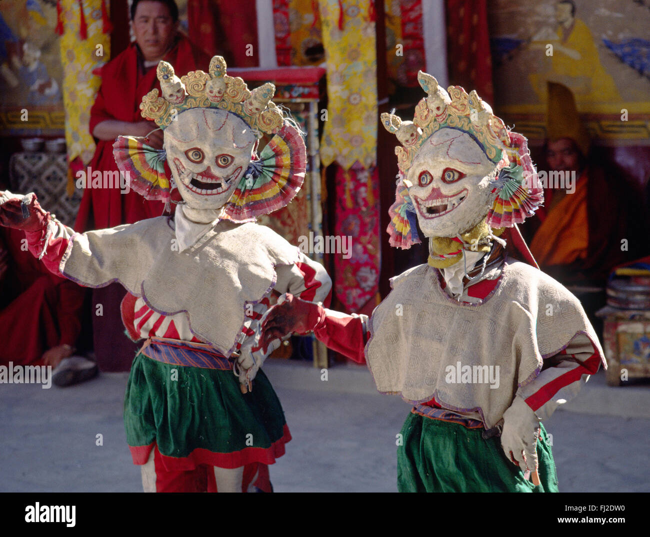 SKULL MASK DANCERS, representing non-attachment, and used as comic relief, TIKSE Monastery Masked Dances - LADAKH, - Stock Image