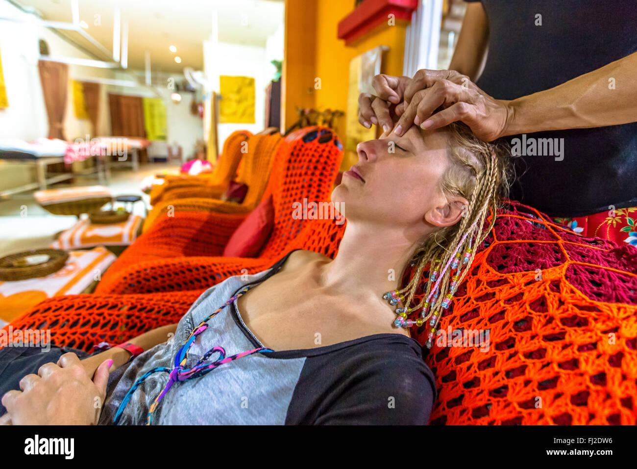 Thai facial massage - Stock Image
