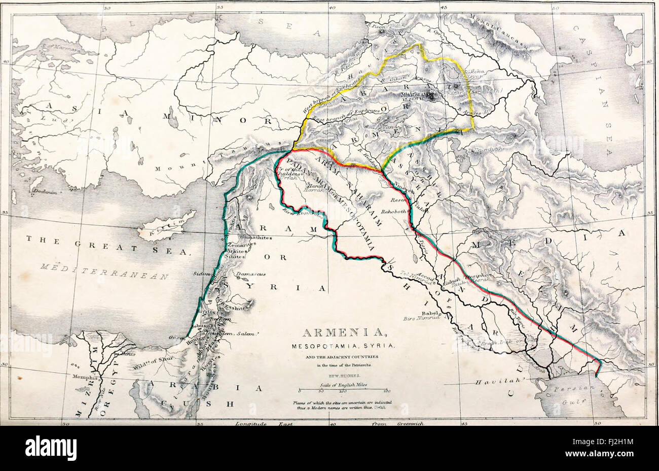 Map of Armenia, Mesopotamia, Syria and the Adjacent Countries in the time of the Patriarchs - Stock Image
