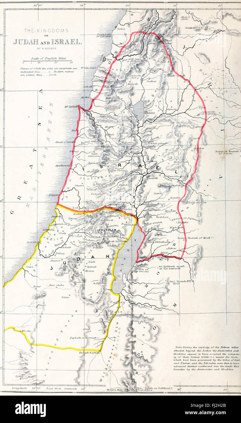 Old Map Of Israel Stock Photos Old Map Of Israel Stock Images Alamy - Map of old testament israel