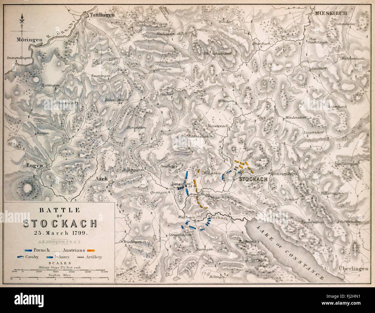 Map of Battle of Stockach - The First Battle of Stockach occurred on 25 March 1799, when French and Austrian armies - Stock Image