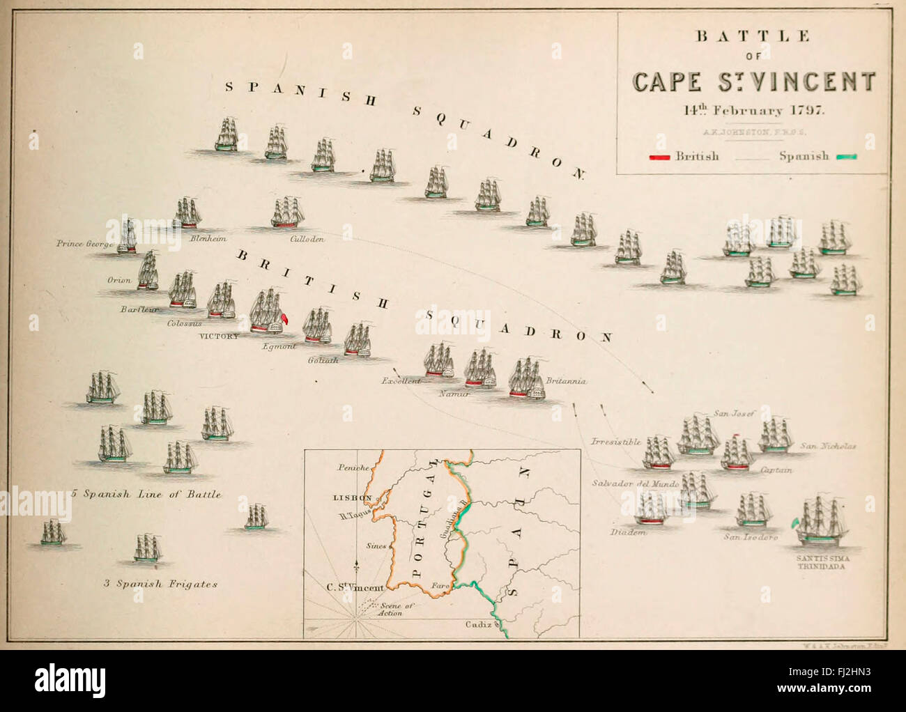 Map of The Battle of Cape St Vincent (14 February 1797), one of the ...