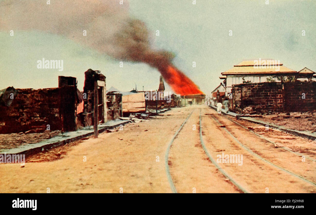 The Tondo fire and ruins. This entire district was destroyed when the natives found, February 23, 1899 that they - Stock Image