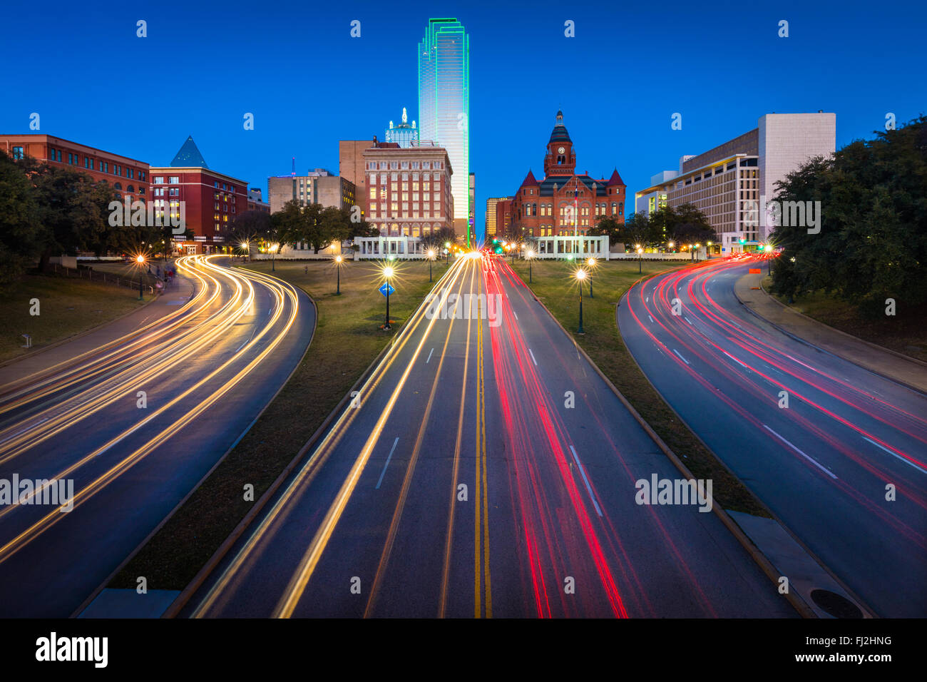 Dealey Plaza, in the historic West End district of downtown Dallas, Texas, is the location of the assassination - Stock Image