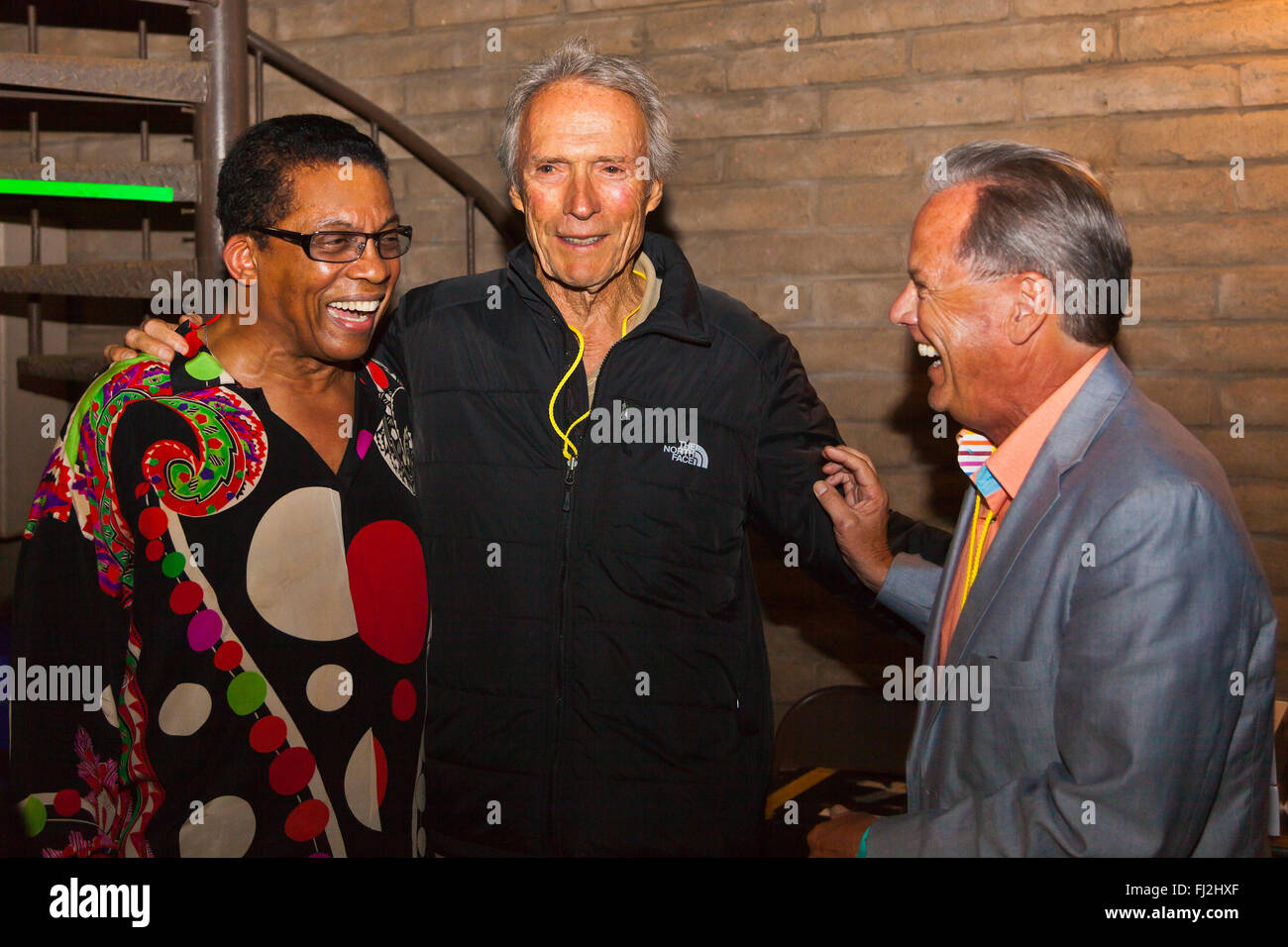 HERBIE HANCOCK backstage with CLINT EASTWOOD and TIM JACKSON at the MONTEREY JAZZ FESTIVAL - Stock Image
