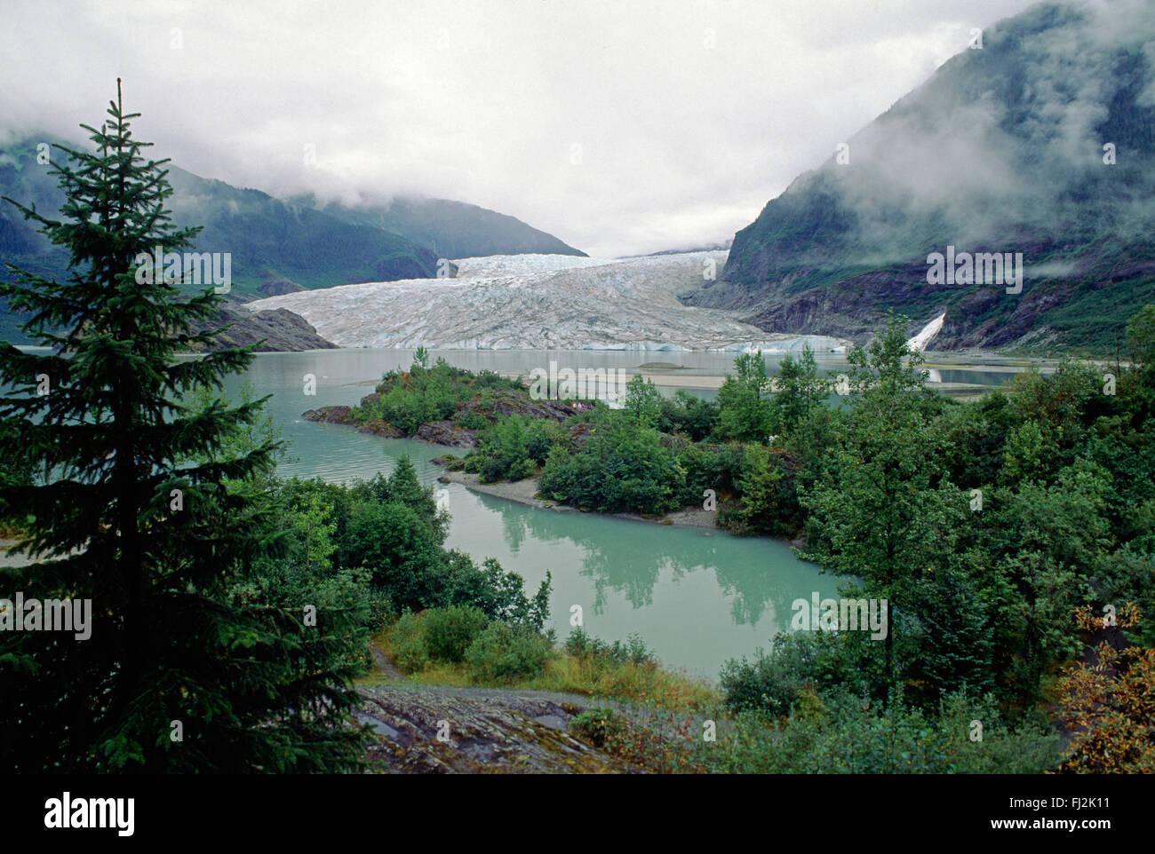 MENDENHALL GLACIER as seem frp, MENDENHALL LAKE - JUNEAU, ALASKA - Stock Image