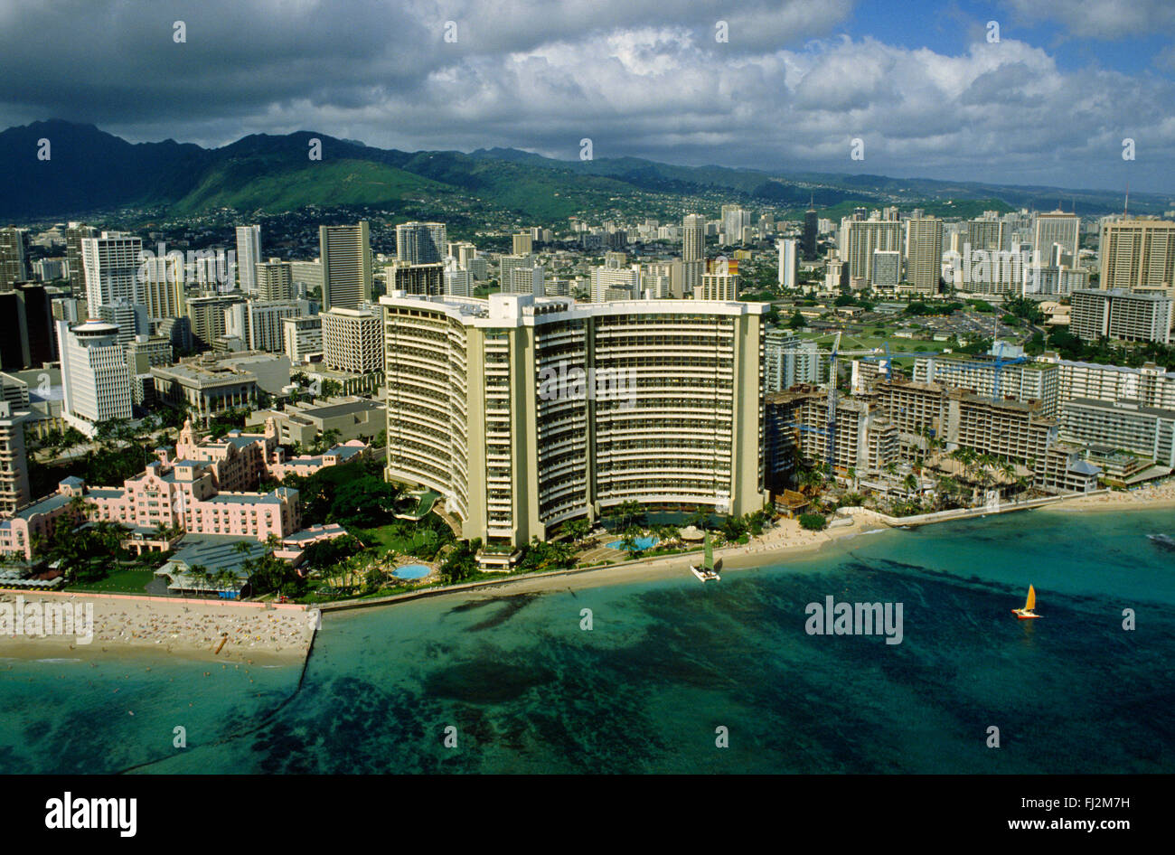 sheraton hotel on waikiki beach oahu hawaii stock photo. Black Bedroom Furniture Sets. Home Design Ideas