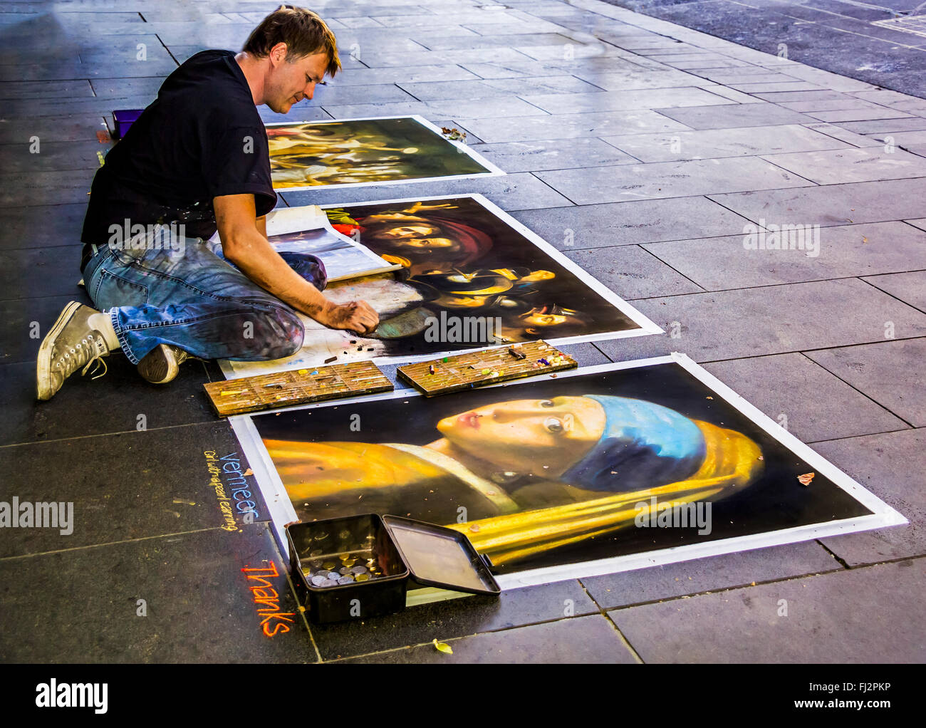 Street Art Pastel Colour Drawings Copy Of Old Masters Artists Stock
