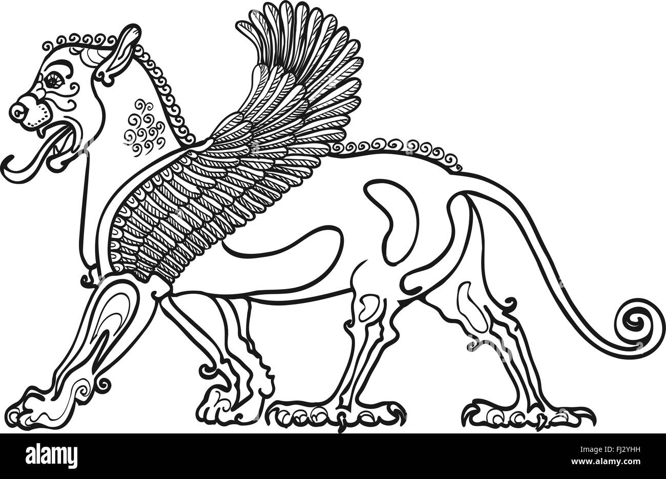 The Griffins, the anti stress coloring book, stylized drawing. a ...