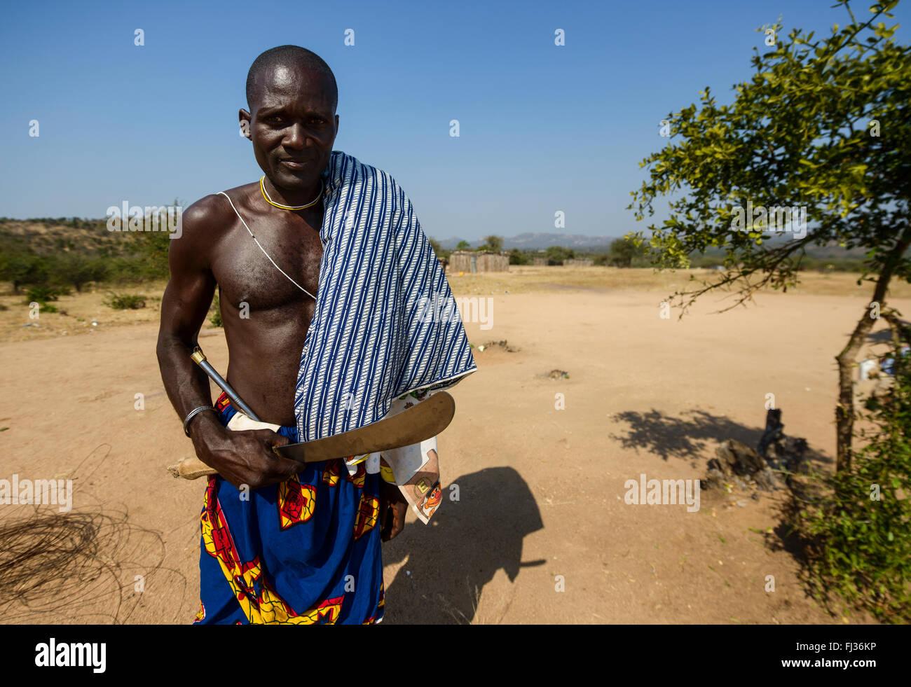 Tribal people of Angola, Africa - Stock Image