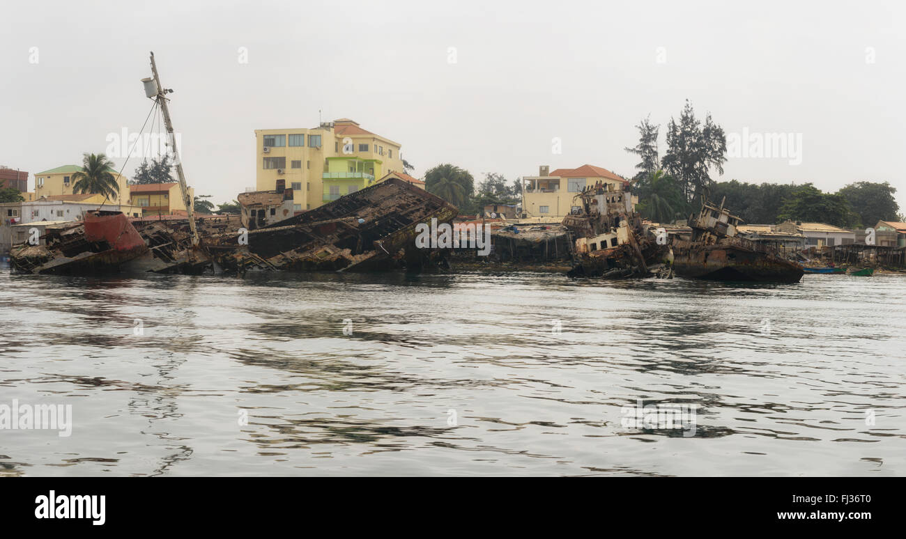 Shipwrecks in Luanda Bay,  Angola, Africa - Stock Image
