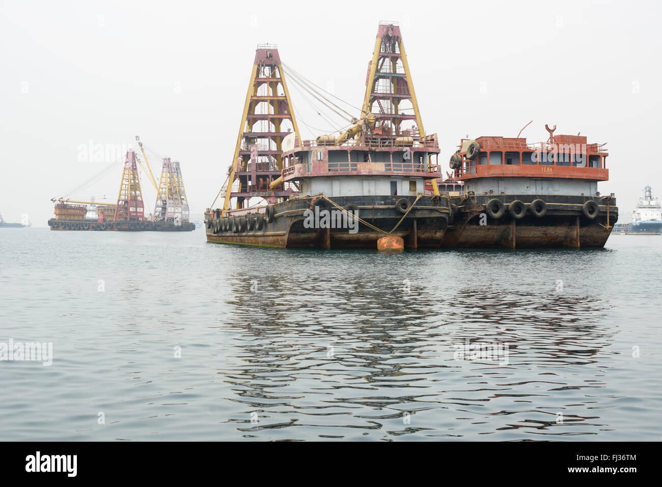 Ships in Luanda Bay, Angola, Africa - Stock Image