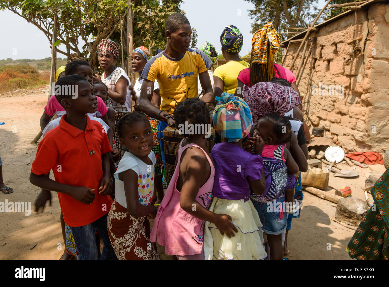 Celebration dance for a baptism, Angola, Africa - Stock Image
