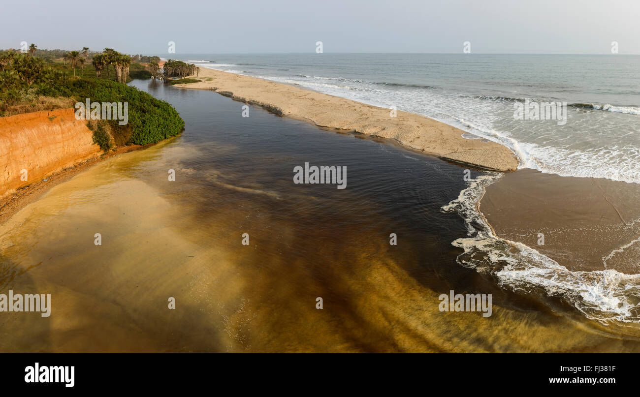 Rivers flowing into the Atlantic ocean, Angola, Africa - Stock Image