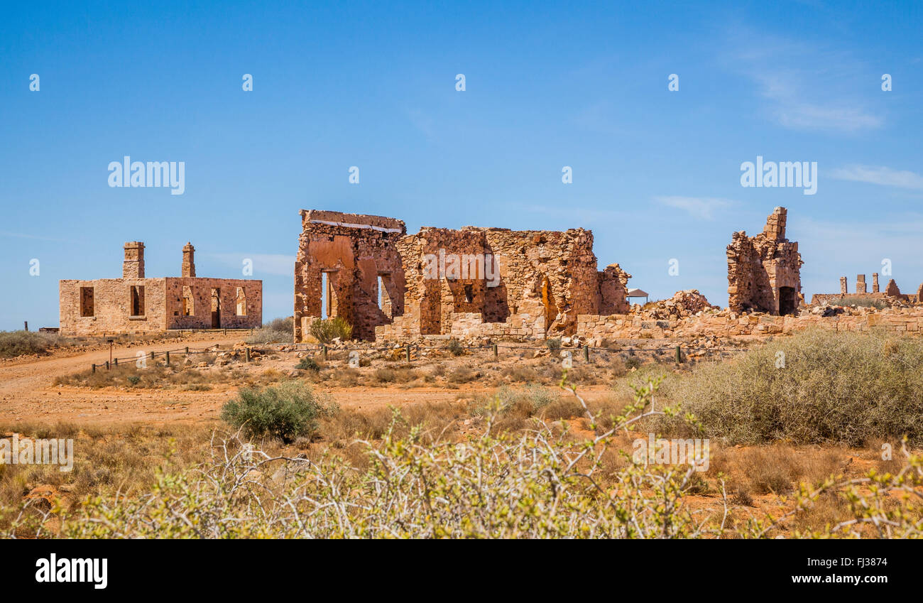 ruins at Farina ghost town, which fell into decline with the closure of the old Ghan Railway in South Australia - Stock Image