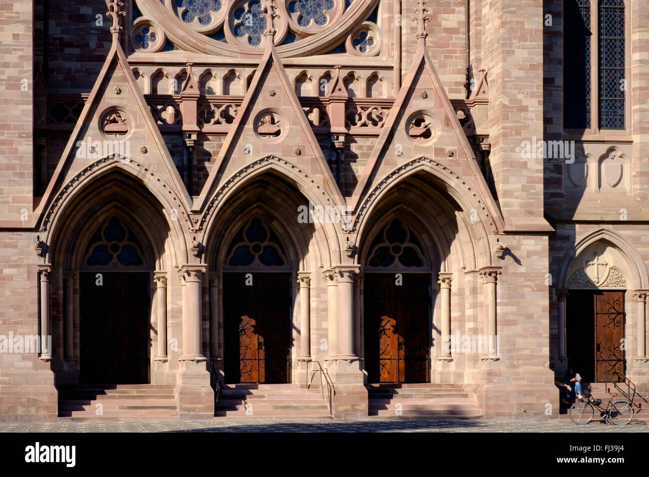 Portals of St Paul protestant church, Strasbourg, Alsace, France - Stock Image