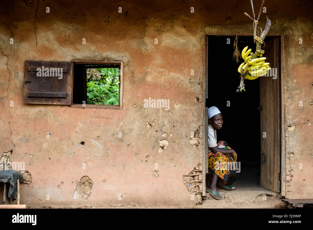 Woman with baby, Cameroon, Africa - Stock Image