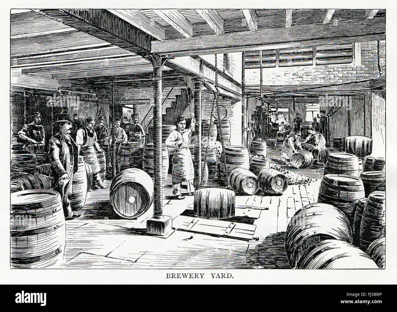 Crown Brewery, Brewery Yard, 1890 engraving of barrels of beer in the Bolton brewery of Magee and Marshall Stock Photo