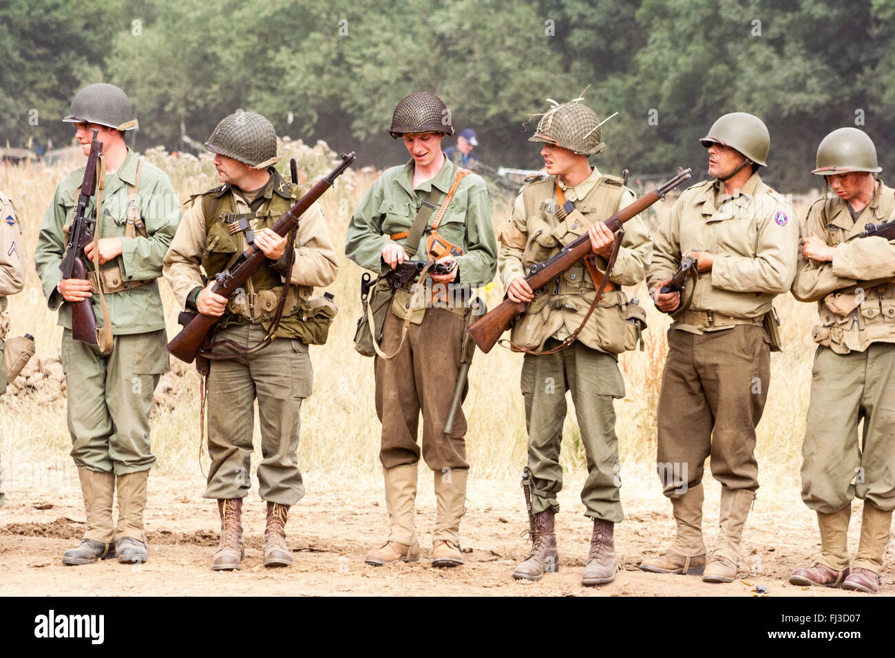 World war two re enactment  Line of six American soldiers