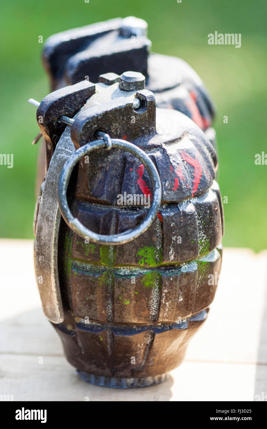 Two British army second world war hand grenades, standing side-by-side, with pin and pull loop. - Stock Image
